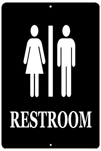 Rogue River Tactical Men and Women Unisex Restroom Bathroom Metal Tin Sign Door Business Retail Store