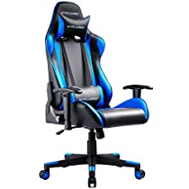 GTRACING Gaming Chair Ergonomic Office Racing Chair Seat Height Adjustable Computer Chair with Pillows Swivel Recliner E- Sports Chair GT002 Blue