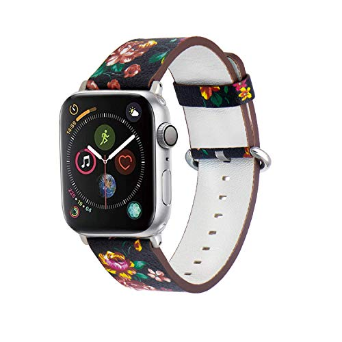 Amberwin Compatible for Apple Watch Band 38/40/42/44mm, Floral Pattern Printed Leather Replacement iWatch Wristband with Metal Buckle for iWatch Series5 4 3 2 1 Sport and Edition (Black+Red, 42/44mm)