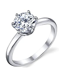 Metal Masters Co.® 1.25 Carat Round Brilliant Cubic Zirconia CZ Sterling Silver 925 Wedding Engagement Ring Size 4 to 11