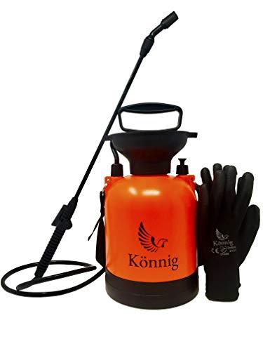 Könnig 0.8 Gallon Lawn, Yard and Garden Pressure Sprayer For Chemicals, Fertilizer, Herbicides and Pesticides with FREE Pair of Garden Gloves (0.8 (Gallon Premium Sprayer)