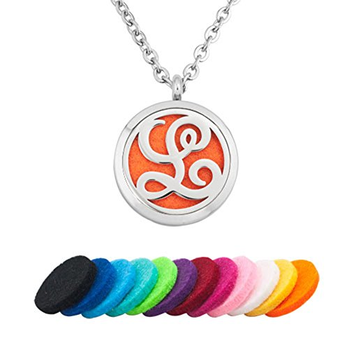 (CandyCharms Aromatherapy Essential Oil Diffuser Necklace Monogram Letter L Locket Pendant)