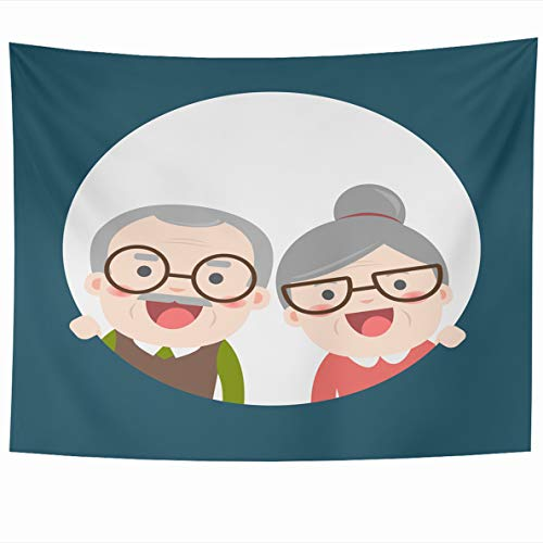 Ahawoso Tapestry 80x60 Inches Retired Elderly Senior Age Couple Vintage Creative Flat Character Grandpa Grandma Wall Hanging Home Decor Tapestries for Living Room Bedroom Dorm (Best Small Travel Trailer For Retired Couple)
