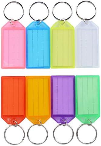 Uniclife 40er Pack Robust Kunststoff Schlüsselanhänger beschriftbar, Schlüsselanhänger zum Beschriften mit Split Ring Label Fenster, verschiedene Farben