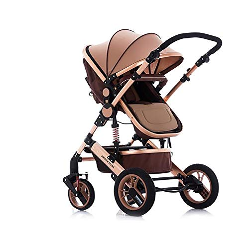 SSRS Pram Set Baby Strollers Lightweight Compact Travel System One Hand Fold Two Way Adjustable Lie Flat Seat Suitable for 0-48 Months(Gold)