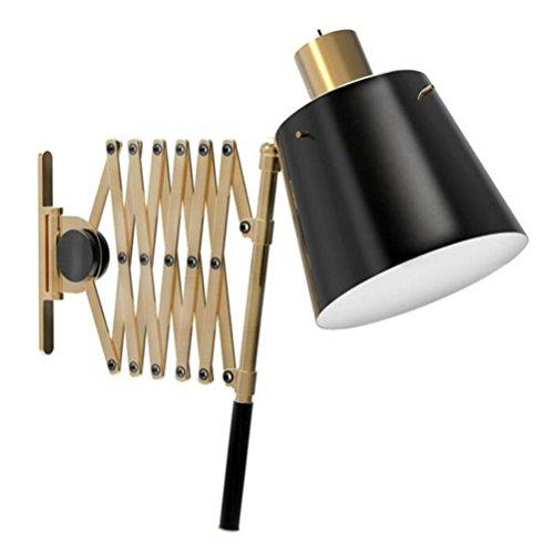 DHXY Apliques de Pared Luz de Pared Rústico Diseño Vintage Lámpara de Pared de Metal Aplique Lectura Ajustable Scissor...