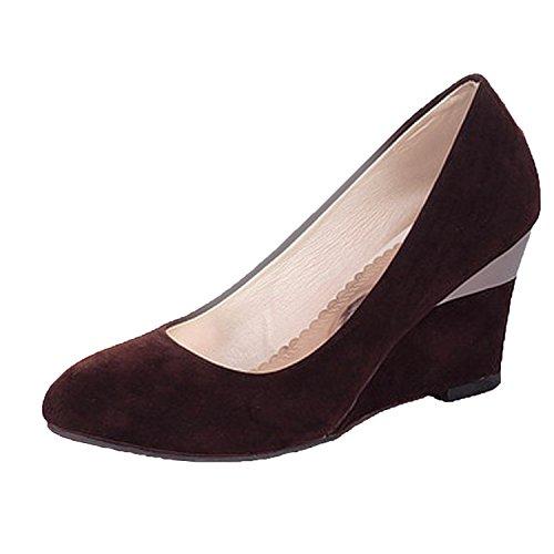Nonbrand Women's Wedge Heel Office Shoes Elegant high heels Brown aa1zi9mV