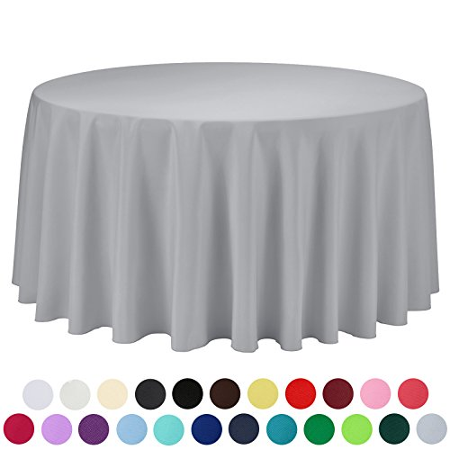 VEEYOO 108 inch Round Solid Polyester Tablecloth for Wedding Restaurant Party, Silver (Solid Linen Tablecloth)