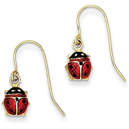 14kt Yellow Gold Enameled Ladybug Dangle Earrings (Gold Earrings 14kt Jewelry Ladybug)