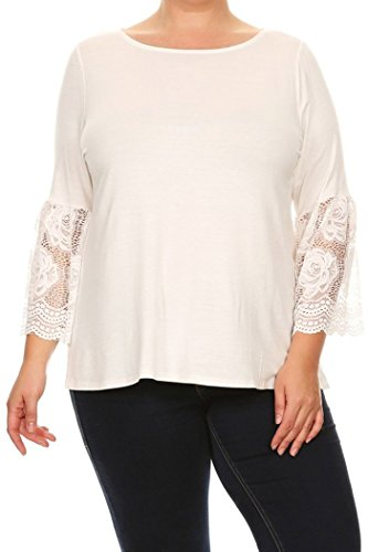 Baby Doll Kimono Top (Fashion Stream Womens Plus Size Solid Top, With Lace Kimono Sleeves Made In USA (3X, Ivory))