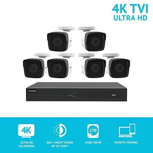 LaView 8 Channel Ultra HD 4K Home Security Camera System with 6 8MP IP Bullet Cameras, 100ft Night Vision, Weatherproof Expandable Surveillance Camera System DVR 1TB HDD