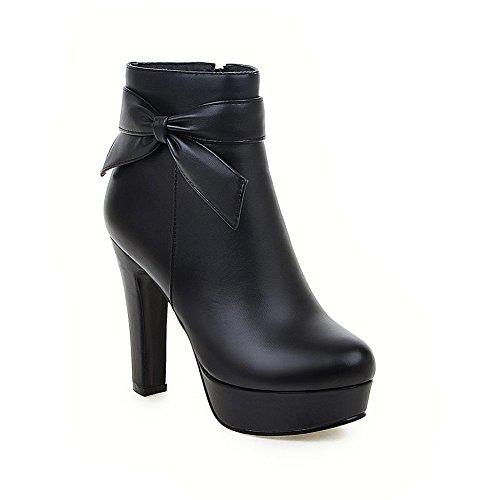 Heel Zip Bowknot Lucksender Platform Boots Short Womens High Black FqZxxwPU