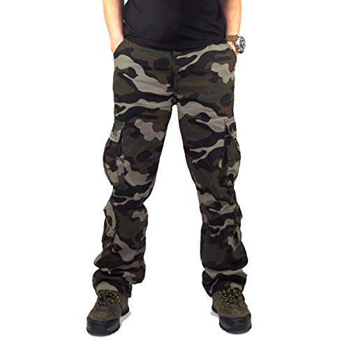 Stunner Men's Outdoor Casual Loose Multi Pocket Cargo Pants Solid Military Athletic-Fit Trousers by Summer US Army Green Camouflage 34