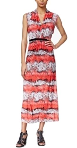 kensie Womens Printed V-Neck Maxi Dress Red ()
