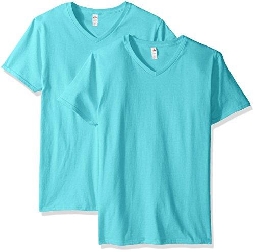 Fruit of the Loom Men's V-Neck T-Shirt (2 Pack), Scuba Blue, Large