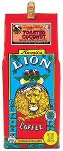 Hawaiian Lunch Bag Gift Basket Lion Coffee Ground Toasted Coconut 4 Bags