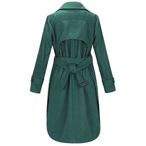 S Coupe paissir Boutonnage Vent Size Green l'hiver Lacets Manteau Laine Color Solide en Double Goyfeelip 4d6qwY4