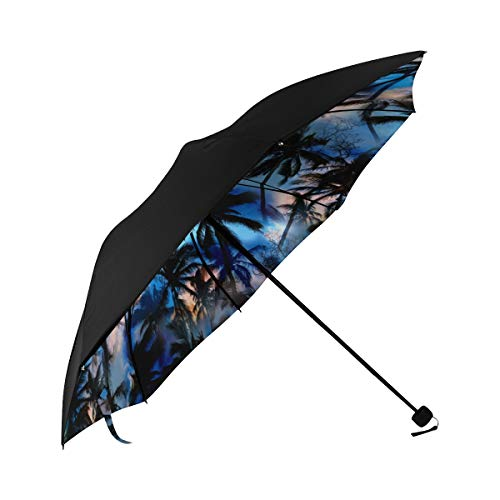Aloha Shirt Island Decor - Night Scenery Starry Sky Moon Compact Travel Umbrella Sun Parasol Anti Uv Foldable Umbrellas(underside Printing) As Best Present For Women Sun Uv Protection