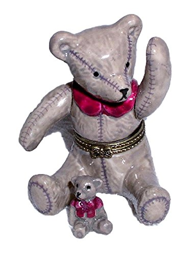 Direct Connection Co. Old Fashioned Teddy Bear in Red Sash 2pc Porcelain Hinged Trinket Box #2 (Bear Hinged)