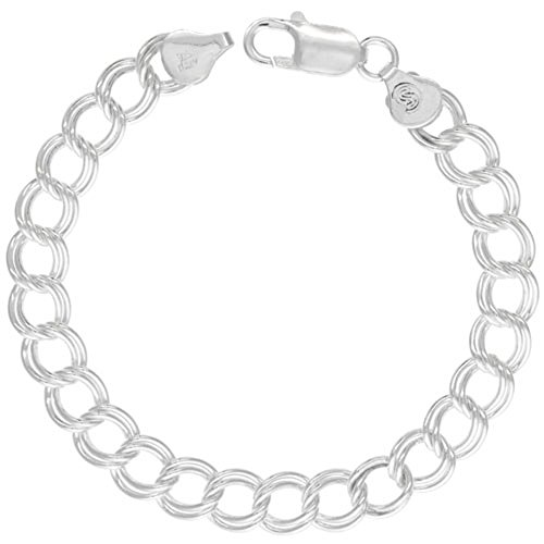 - Sterling Silver Double Link Charm Bracelet 8 mm medium Large Nickel Free Italy, 5/16 wide 7 inch