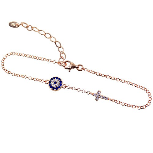 Evil Eye and Cross Cz Bracelet 925 Sterling Silver (Rose Gold Plated)