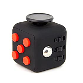 Focus Cube - (6 Colors) Fidget Cube Toy For Anxiety Stress Relief Attention Focus For Children / Adult Gift ADHD (Black / Red)