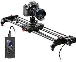 GVM kamera glidare med motor, motoriserad kameraficka av kolfiber, kameraskäror med tidtagare, fattning, fokus, parallax...