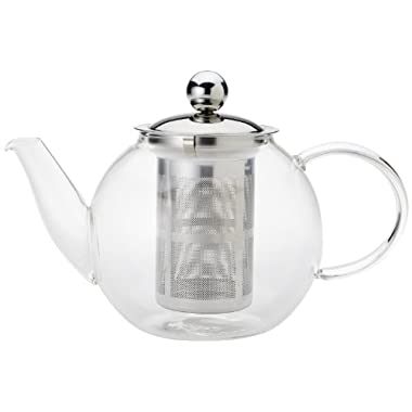 Yedi Housewares, 30oz Borosilicate Glass Tea Kettle, Stovetop Safe Teapot with Removable Stainless Steel Infuser