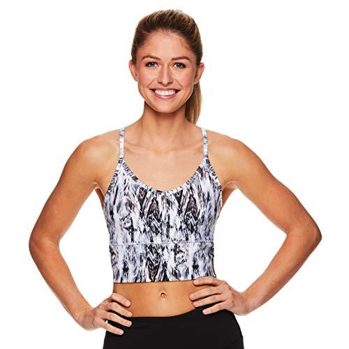 - Gaiam Women's Strappy Wireless Bralette - Medium Impact Longline Racerback Workout & Yoga Sports Bra - Bright White White, Medium