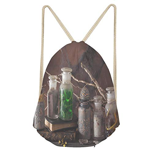 (Sports Drawstring Backpackwitch apothecary jars magic potions halloween)
