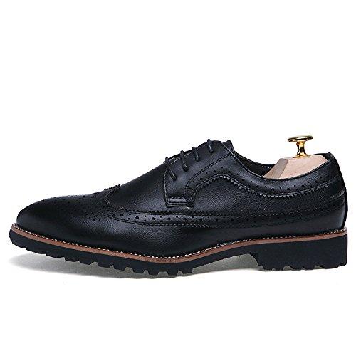 Zapatos De Inglaterra Zapatos De Retro Ocasionales Black De Cordones Cuero Tallados Puntiagudos Zapatos De De Hombres Los Nuevos Verano BwgSqd6Sn