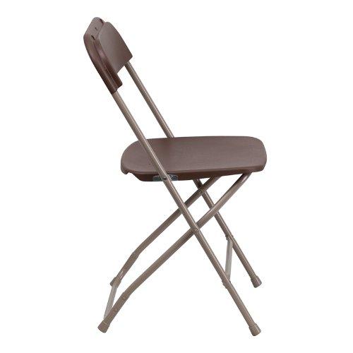 Flash Furniture 10 Pk. HERCULES Series 800 lb. Capacity Premium Brown Plastic Folding Chair