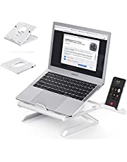 Laptop Stand Ergonomic, Multi-Angle Adjustable Computer Holder Stand with Built-in Foldable Legs and Phone Holder