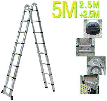 Escalera telescópica multifunción plegable de aluminio, 5 m: Amazon.es: Bricolaje y herramientas