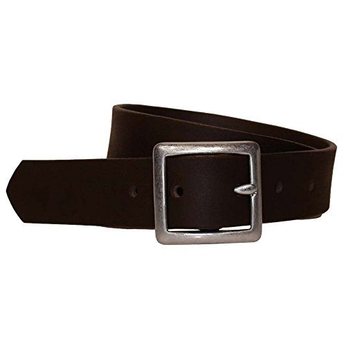 Bison Designs Full Grain Water Buffalo Leather 32mm Standard Leather Belt with Dull Silver Buckle (Black, 38-Inch Waist)