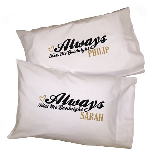 Always Kiss Me Goodnight Personalized Pillowcases Set of 2