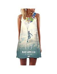 S.Charma Womens Boho Floral Dress Summer Sleeveless Tank Dress Beach Short Mini Dress