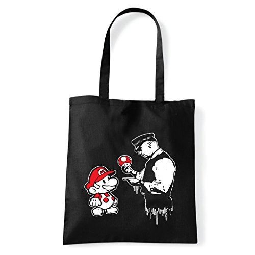 Graffiti Super Banksy Black T Shirt Sholder Art Bag Mario xa4q0xSw
