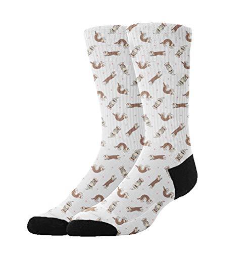 KYWYN Unisex Ferret Frolic Cozy Cotton Athletic Crew Socks Fun Cute Dress Socks,Novelty Gift Kids Teens