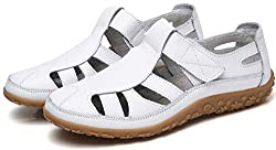 Yooeen Ladies Soft Leather Sandals Comfortable Flat Shoes Non Slip Hollow Closed Toe Summer Sandals White