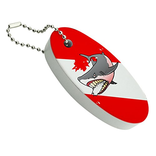 Graphics and More Angry Shark Scuba Diving Flag Diver Floating Foam Keychain Fishing Boat Buoy Key Float ()