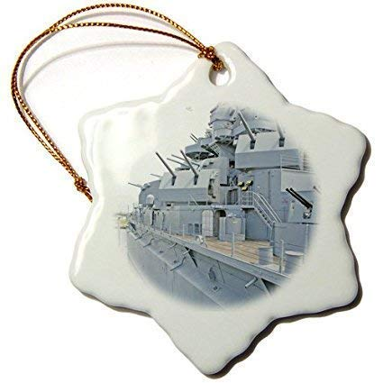 (weewen USS Alabama Battleship Memorial Park Mobile Snowflake Ornament Porcelain Holiday Xmas Tree Decoration Wedding)