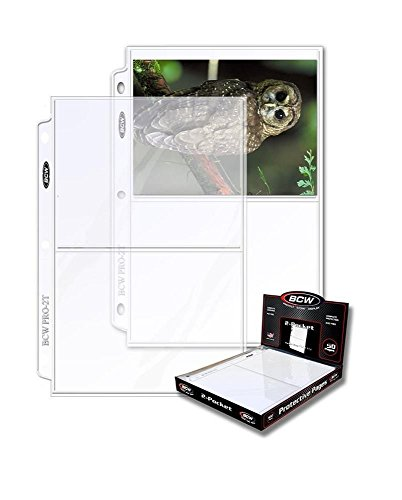 BCW Protective Pages Crystal Clear for Photographs or Postcards | 2-Pocket Page | Pocket Size 5 ½'' x 7 ⅛''  | (50 Page Total) by BCW