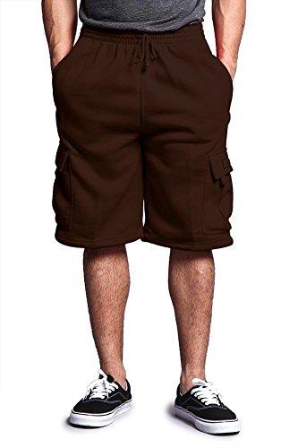 Victorious Men's Solid Fleece Cargo Shorts DFP1 - Brown - -