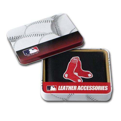 MLB Boston Red Sox Embroidered Genuine Cowhide Leather Billfold Wallet Boston Red Sox Wallet