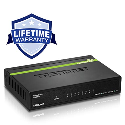 TRENDnet 8-Port Unmanaged Gigabit GREENnet Desktop Metal Switch, Ethernet Splitter, Fanless,16Gbps Switching Capacity, Plug & Play, Lifetime Protection, TEG-S80G