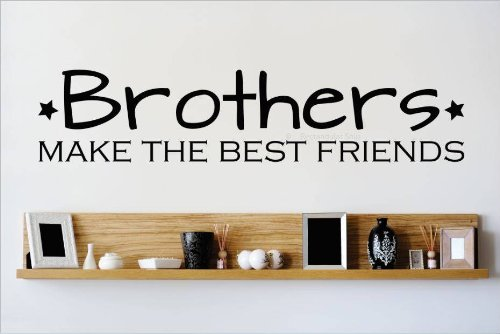 Decal – Vinyl Wall Sticker : Brothers MAKE THE BEST FRIENDS Quote Home Decor Sticker - Vinyl Wall Decal - 22 Colors Available Size: 10 Inches X 40 Inches
