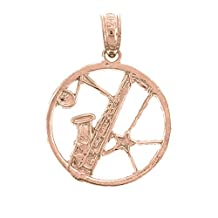 Rose Gold-plated 925 Sterling Silver 20mm Saxophone Charm Pendant (Approx. 0.935 grams)