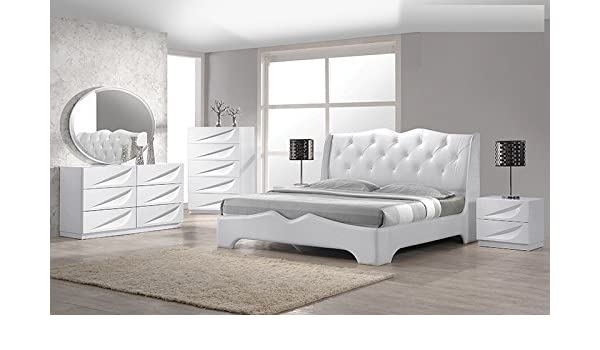 Amazon.com: Modern Madrid 4 Piece Bedroom Set Queen Size Bed ...