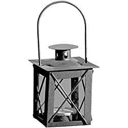 Whole House Worlds Urban Chic Industrial Metal Cross Post Hurricane Lanterns for LED or Wax Tealights, 4 1/2 Inches Tall, Rustic Gray Gunmetal Iron and Crystal Clear Glass, Vintage Style